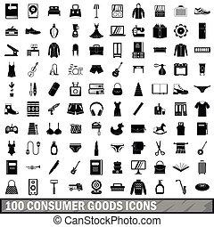 estilo, bienes, iconos, conjunto, simple, 100, consumidor