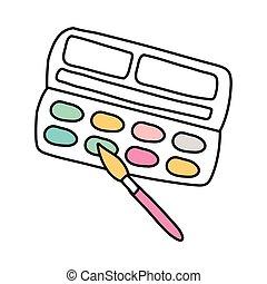 estilo, cepillo, pintura, línea, paleta