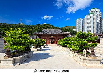estilo, chino, espiga, chi, lin, c, hong kong, convento de monjas, templo, dinastía