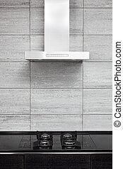estilo, cocina, gas-stove, moderno, minimalism, capucha, cocina