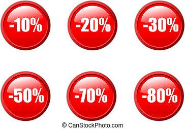 estilo, conjunto, agua, ventas, botones, descuento, vector, red.
