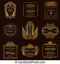 estilo, conjunto, arte, vendimia, boda, -, deco, fecha, vector, invitación, tarjetas, excepto