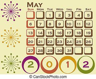 estilo, conjunto, poder, 1, retro, calendario, 2012