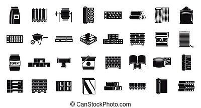 estilo, conjunto, simple, construcción, iconos, materiales, edificio