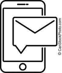 estilo, correo, icono de teléfono, carta, contorno