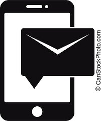 estilo, correo, icono de teléfono, carta, simple