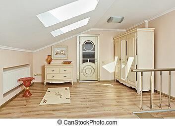 estilo, deco, arte, desván, luz, moderno, colores, beige, interior, habitación