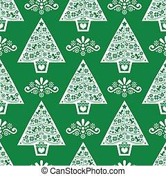 estilo, diseño, arte, escandinavo, verde, patrón, navidad, vector, gente, blanco, seamless, árbol, retro, plano de fondo, -