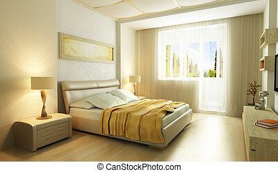 estilo, dormitorio, moderno, interior, 3d