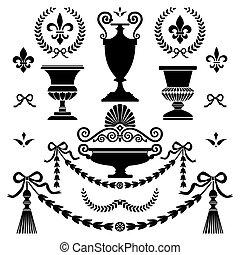 estilo, elementos, diseño, clásico
