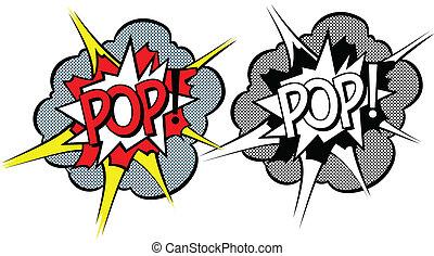 estilo, explosión, caricatura, pop-art