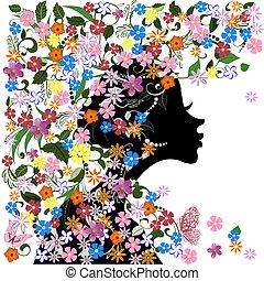 Estilo floral, chica y mariposa