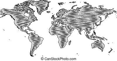 estilo, grabado, viejo, woodcut, dibujo, mapa del mundo