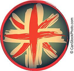 estilo, grunge, británico, emblema, bandera