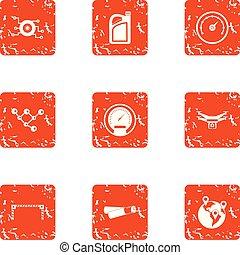 estilo, grunge, iconos, conjunto, viaje, velocidad
