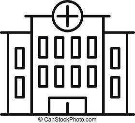 estilo, icono, hospital, edificio, contorno