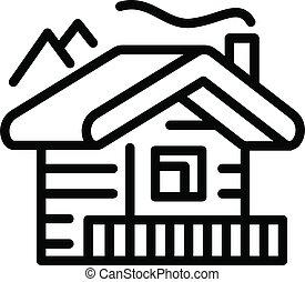 estilo, icono, montañas, cabaña, contorno