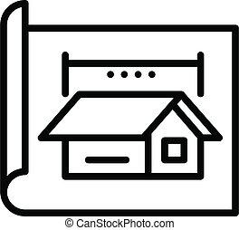 estilo, icono, proyecto, cabaña, contorno, arquitecto