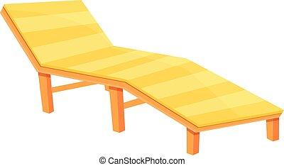 estilo, icono, verano, silla de la playa, caricatura, fiesta