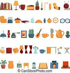 estilo, iconos, caricatura, hogar, conjunto, cómodo