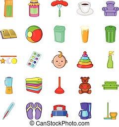 estilo, iconos, conjunto, economía, hogar, caricatura