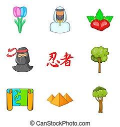 estilo, iconos, firma, terra, conjunto, caricatura