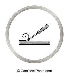 estilo, illustration., icono, símbolo, cincel, aislado, fondo., vector, monocromo, blanco, madera, aserradero, acción