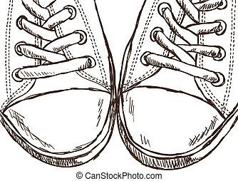 estilo, -, ilustración, mano, zapatillas, dibujado
