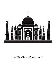 estilo, mahal, illustration., símbolo, india, aislado, fondo., vector, negro, blanco, icono, taj, acción