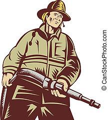 estilo, manguera, ángulo, woodcut, bombero, proceso de llevar, hecho, bajo, visto