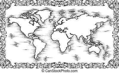 estilo, mapa, mundo, grabado, dibujo, viejo, woodcut