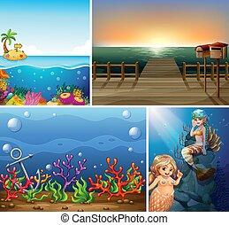 estilo, mar, diferente, playa tropical, submarino, caricatura, escena, creater, sirena, cuatro