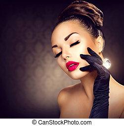 estilo, moda, belleza, vendimia, encanto, portrait., niña