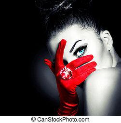 estilo, mujer, llevando, guantes, misterioso, vendimia, rojo, encanto
