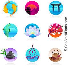 estilo, oriental, colección, iconos