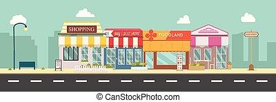 estilo, público, calle., ilustración negocio, calle, urban., escaparate, mediodía, edificios, principal, vector, escena de la ciudad, tienda, plano, urbano, design.