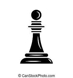 estilo, pedazo, aislado, ajedrez, negro, icono, peón