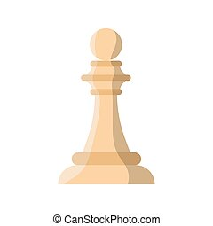 estilo, pedazo, plano, ajedrez, icono, peón blanco
