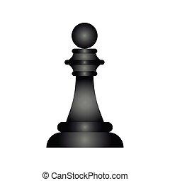 estilo, pedazo, plano, ajedrez, negro, icono, peón