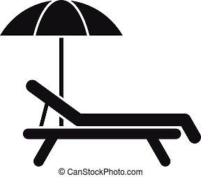 estilo, playa, icono, simple, deckchair