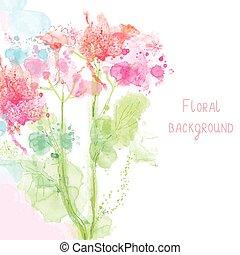 estilo, primavera, -, acuarela, floral, plano de fondo, oferta