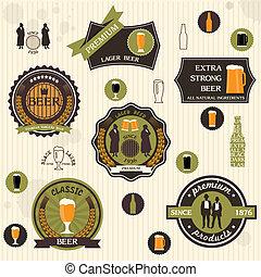 estilo, retro, diseño, cerveza, etiquetas, insignias