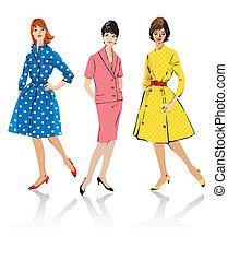 estilo, retro, mujeres, -, conjunto, elegante