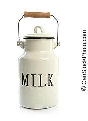 estilo, urna, tradicional, granjero, blanco, leche, olla