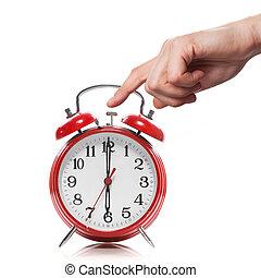 estilo, viejo, reloj, alarma, aislado, mano, rojo blanco