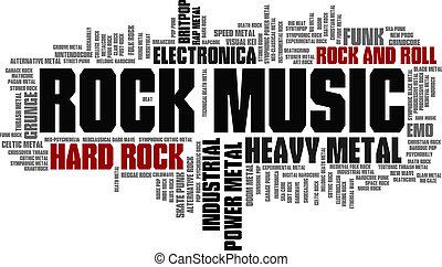 estilos, palabra, árbol, vector, música, roca, etiqueta, burbuja, nube