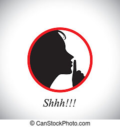 esto, niña, indicar, mujer, y, parada, utilizar, levantar, shh, concepto, joven, silencioso, hablar, contiene, ruido, gráfico, -, mano, refrán, ser, elaboración, ella, índice, vector., el gesticular
