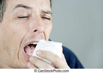 estornudar, hombre