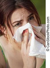 estornudar, mujer, alergia