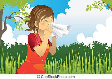 estornudar, mujer